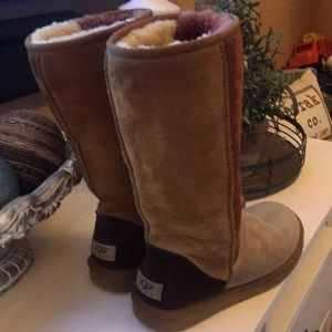 Used Ugg multicolored boots size 8 W.  Super comfy